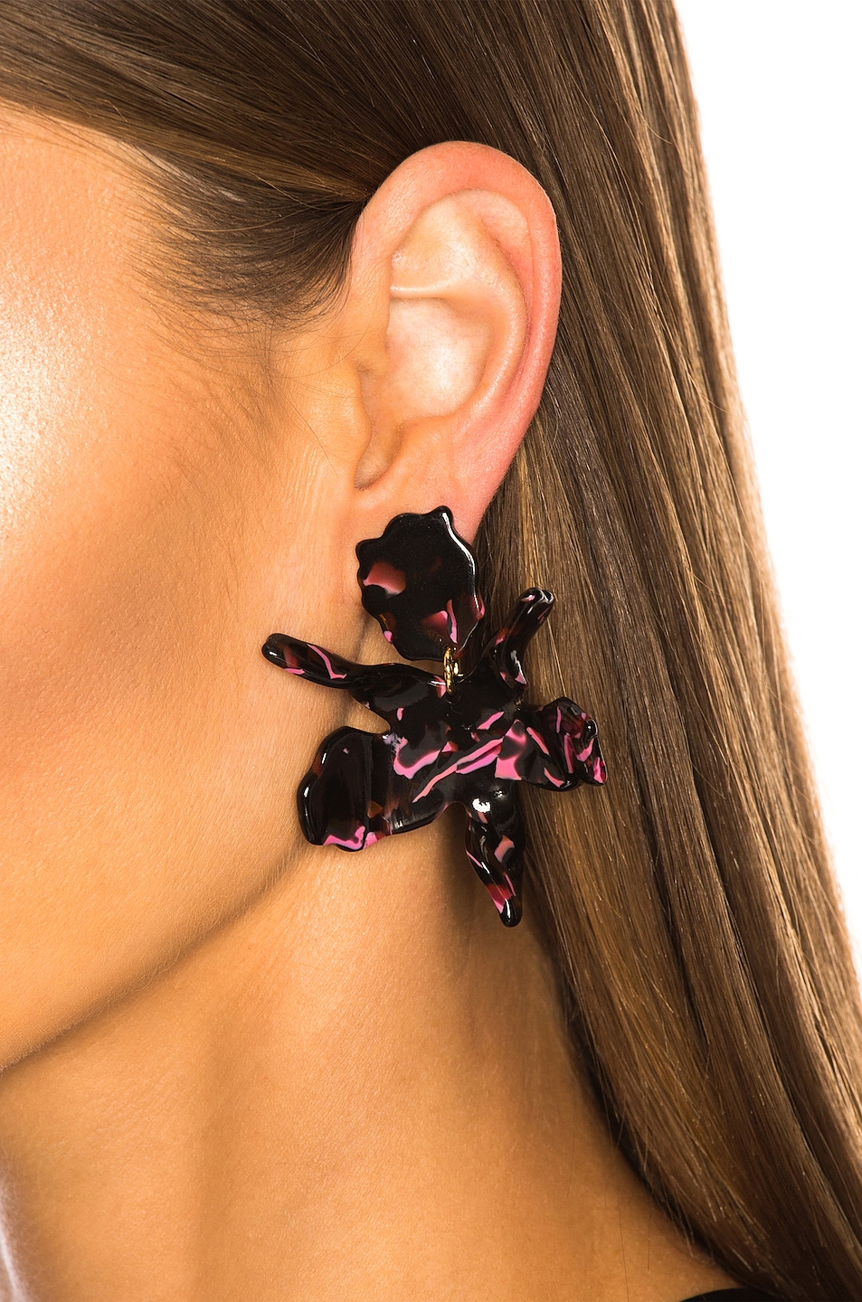 Image 2 of Lele Sadoughi Small Paper Lily Earrings in Black Cherry