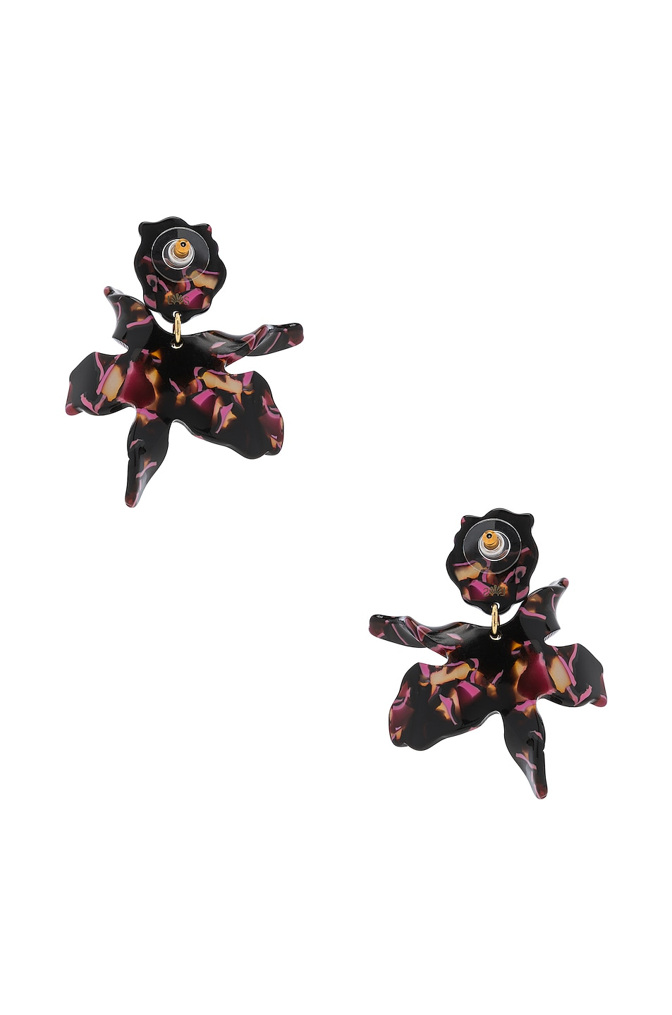 Image 4 of Lele Sadoughi Small Paper Lily Earrings in Black Cherry
