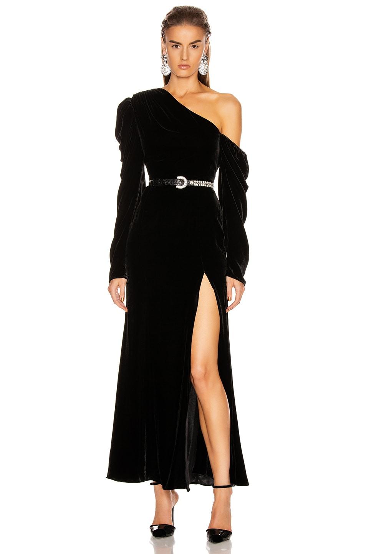 Image 1 of Les Reveries Off Shoulder Puff Sleeve Long Velvet Dress in Black Velvet