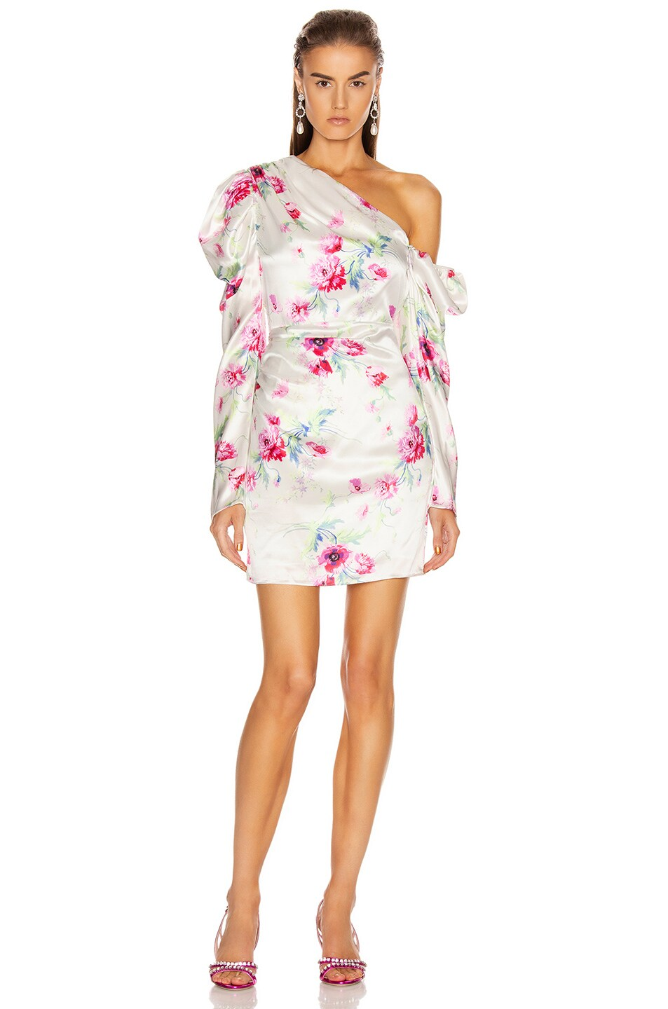 Image 1 of Les Reveries Off Shoulder Puff Sleeve Mini Dress in Chrysanthemum Pink