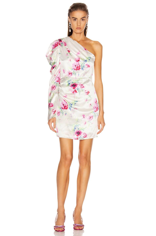 Image 2 of Les Reveries Off Shoulder Puff Sleeve Mini Dress in Chrysanthemum Pink