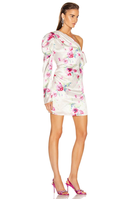 Image 3 of Les Reveries Off Shoulder Puff Sleeve Mini Dress in Chrysanthemum Pink