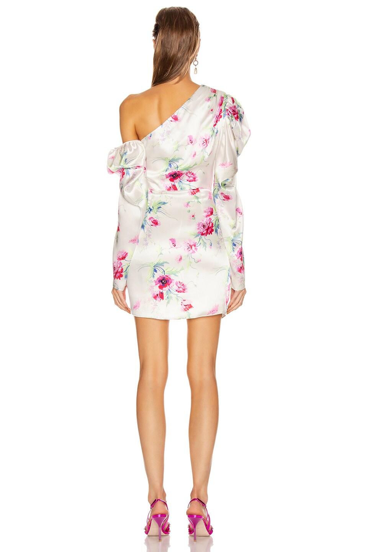 Image 5 of Les Reveries Off Shoulder Puff Sleeve Mini Dress in Chrysanthemum Pink