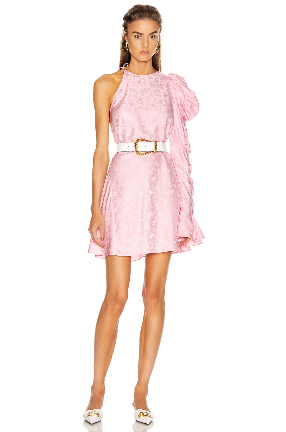 Image 1 of Les Reveries x FWRD Asymmetrical Puff Sleeve Dress in Rose Pink