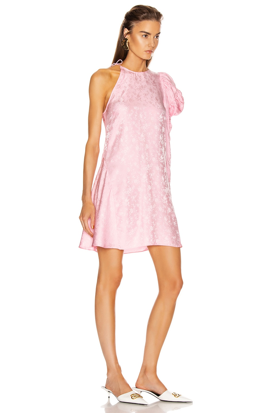 Image 2 of Les Reveries x FWRD Asymmetrical Puff Sleeve Dress in Rose Pink