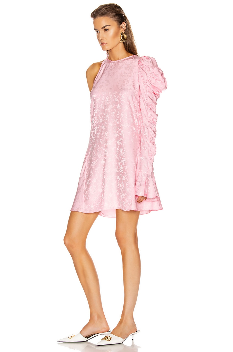 Image 3 of Les Reveries x FWRD Asymmetrical Puff Sleeve Dress in Rose Pink