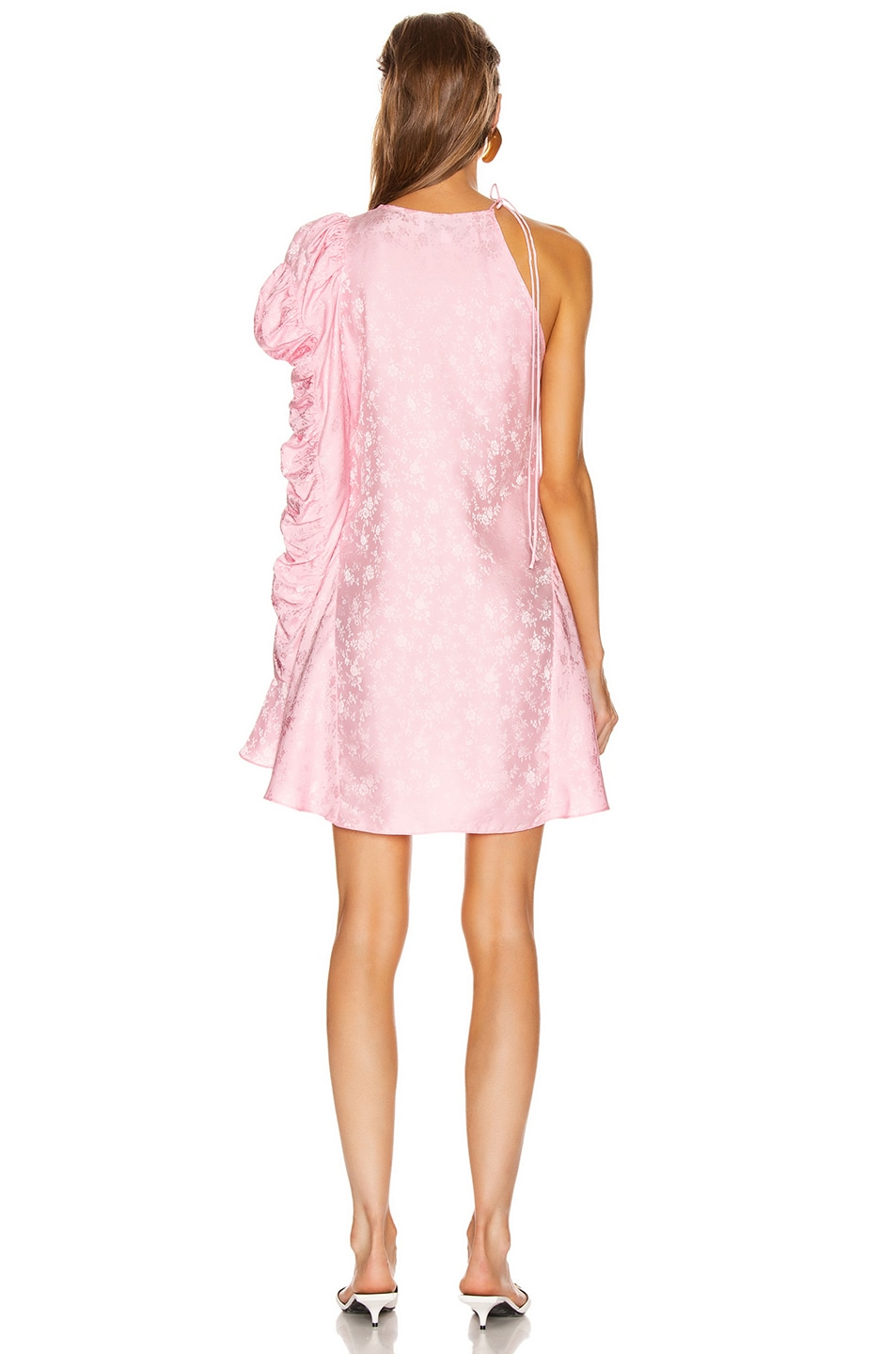 Image 4 of Les Reveries x FWRD Asymmetrical Puff Sleeve Dress in Rose Pink