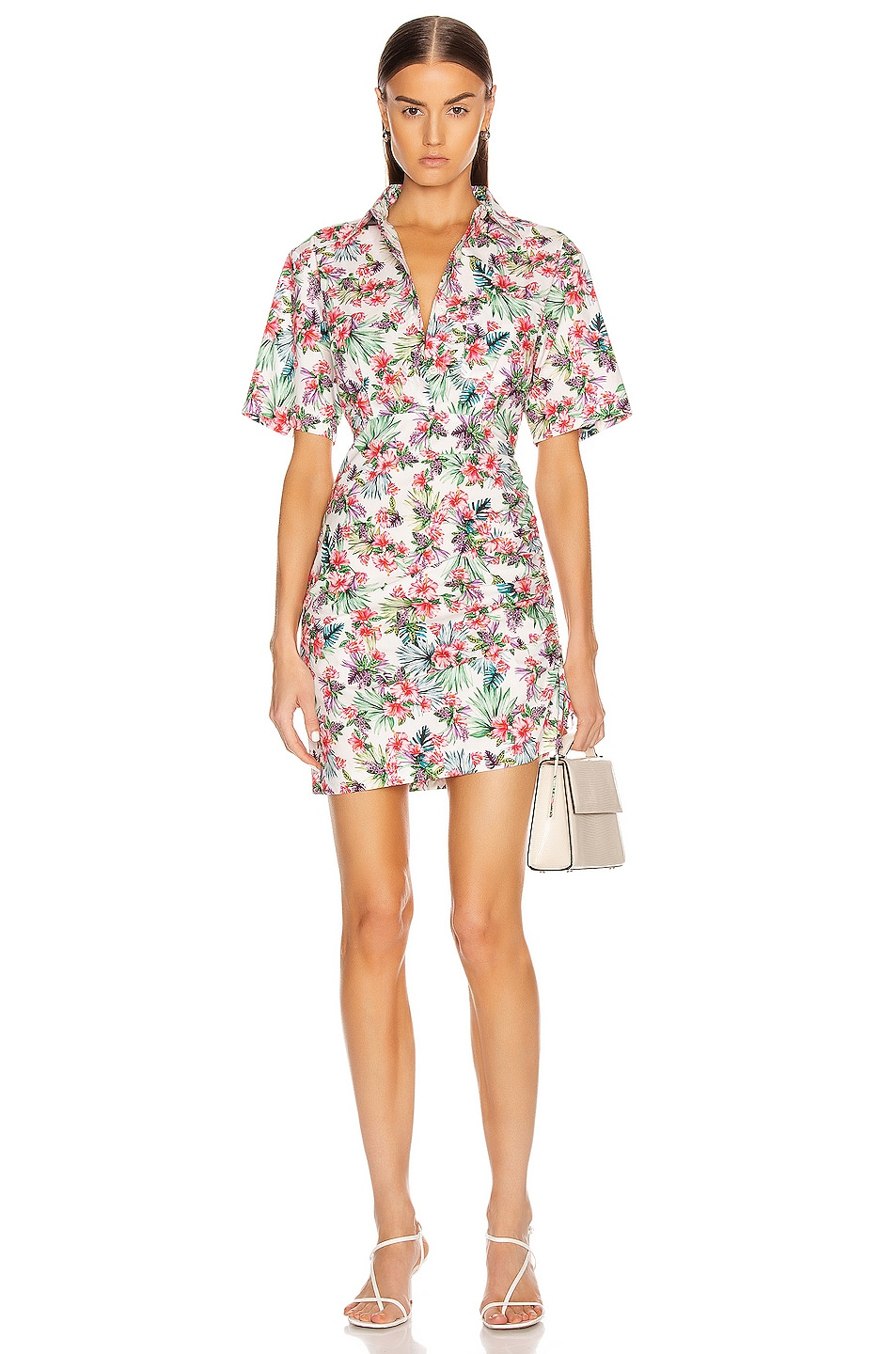 Image 1 of Les Reveries Ruched Skirt Cotton Shirt Dress in Hibiscus White
