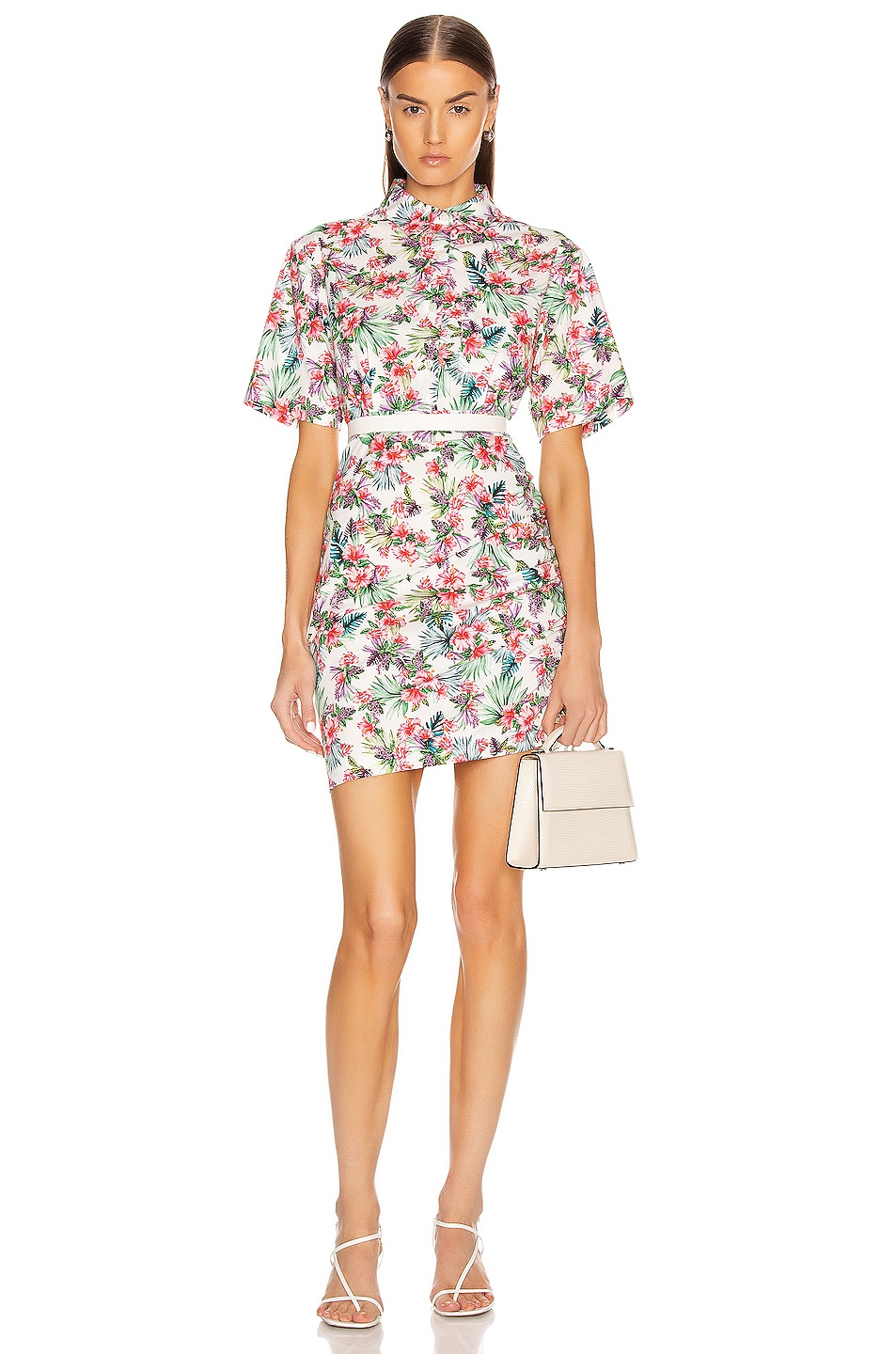 Image 2 of Les Reveries Ruched Skirt Cotton Shirt Dress in Hibiscus White