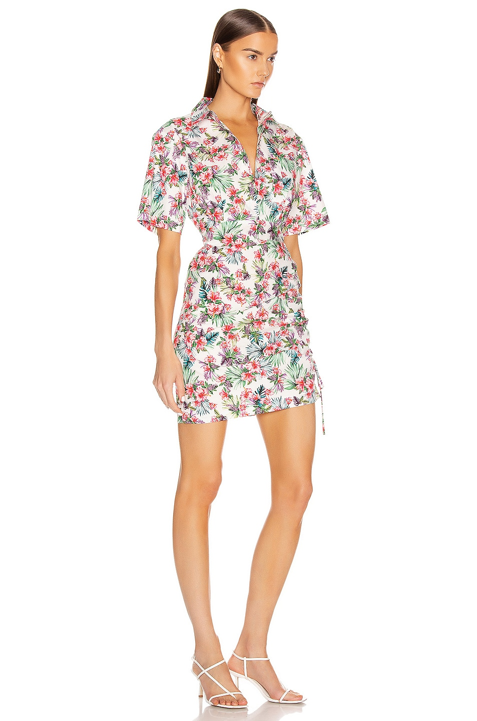 Image 3 of Les Reveries Ruched Skirt Cotton Shirt Dress in Hibiscus White