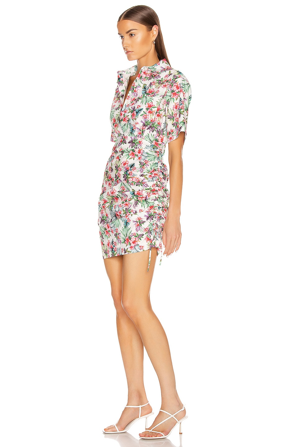 Image 4 of Les Reveries Ruched Skirt Cotton Shirt Dress in Hibiscus White