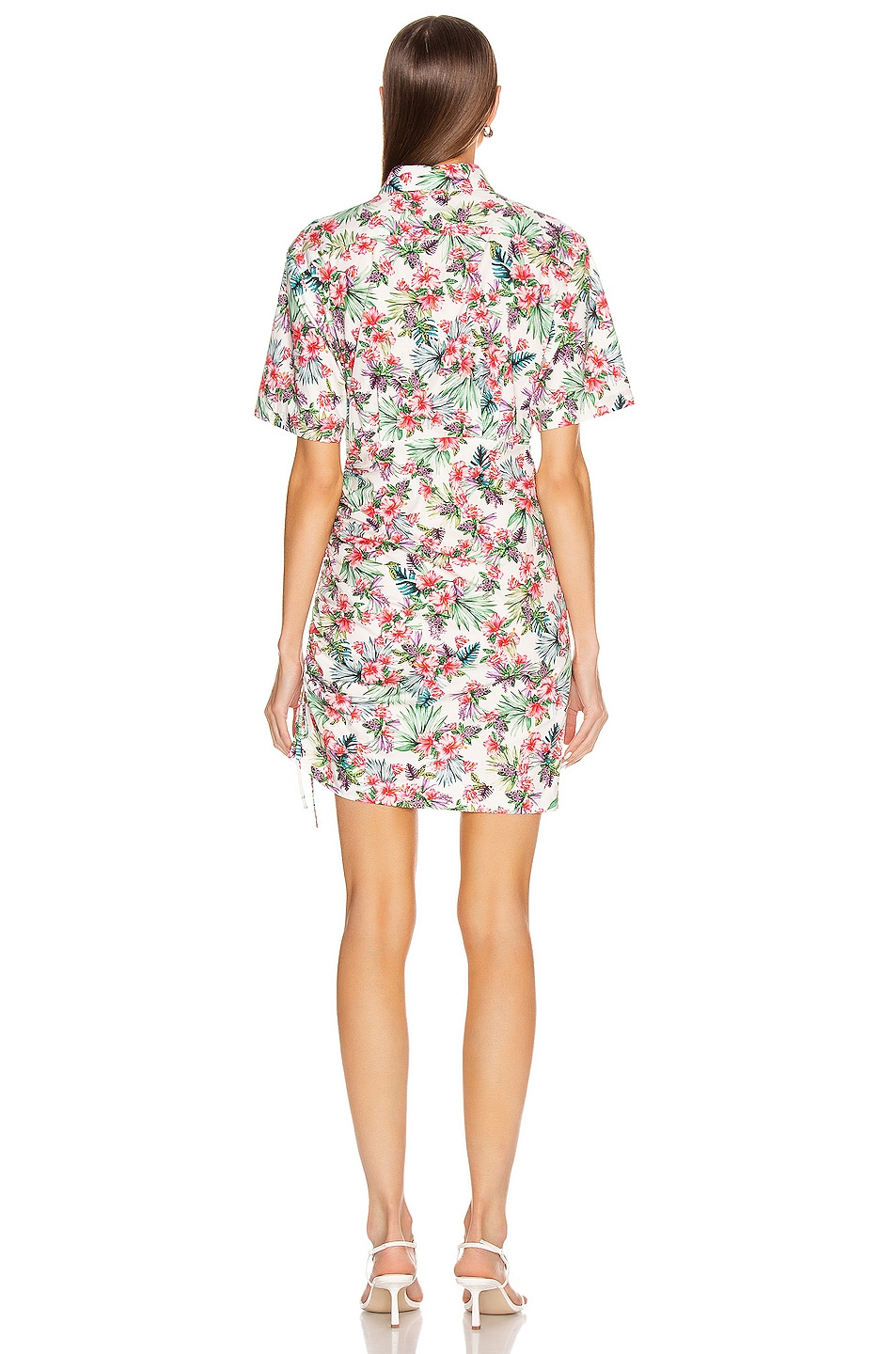 Image 5 of Les Reveries Ruched Skirt Cotton Shirt Dress in Hibiscus White