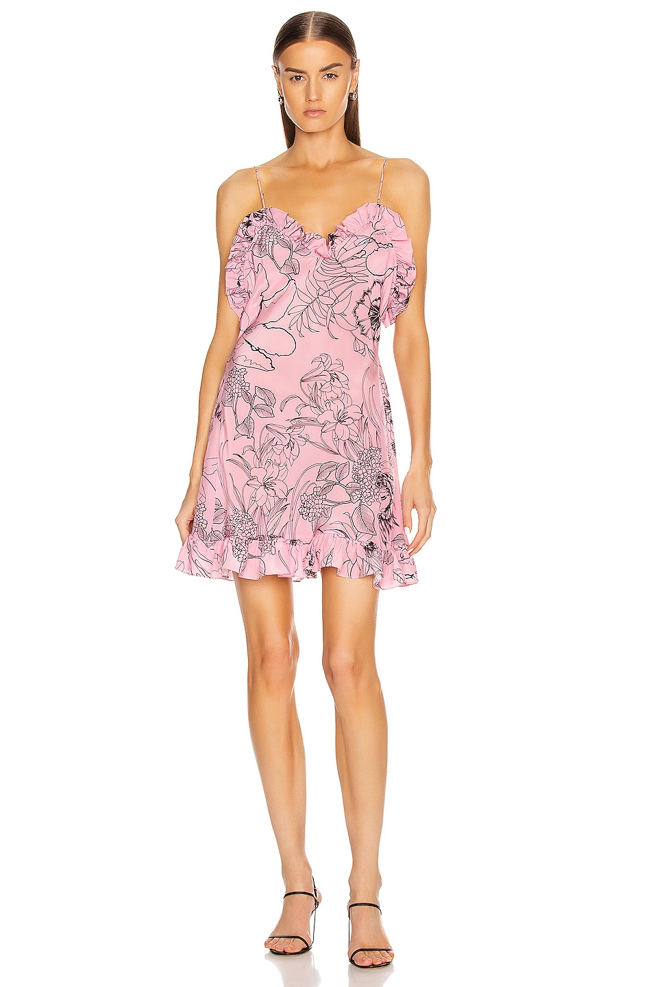 Image 1 of Les Reveries Ruffle Mini Cami Dress in Pink Peacock