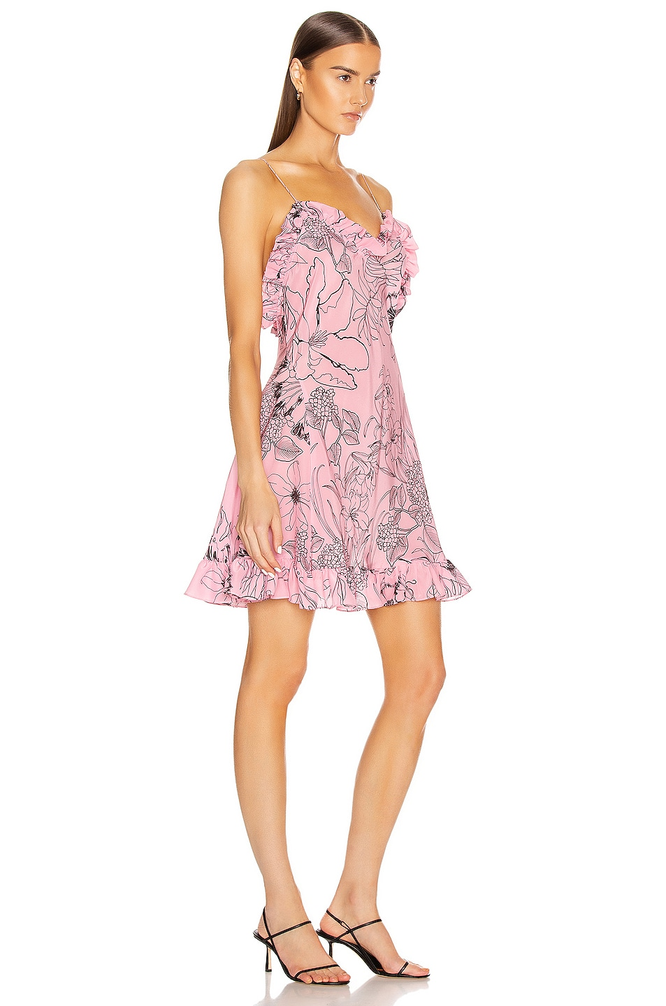 Image 2 of Les Reveries Ruffle Mini Cami Dress in Pink Peacock