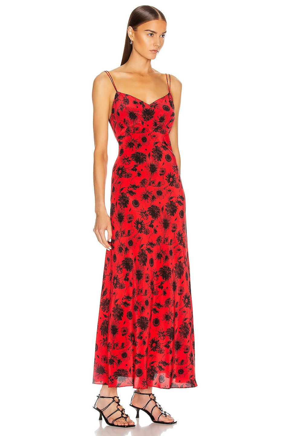 Image 2 of Les Reveries Maxi Silk Cami Dress in Wild Daisy Red