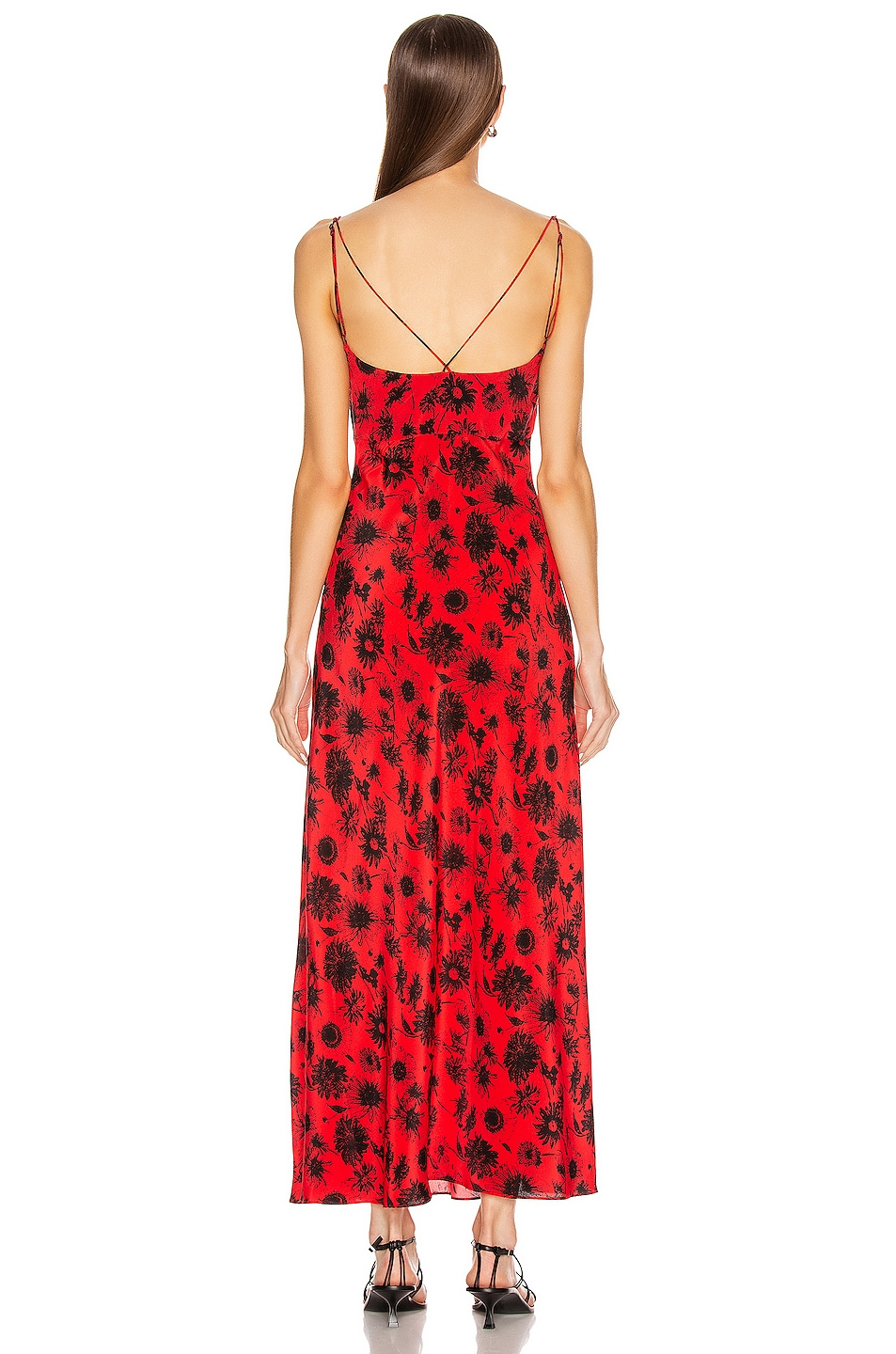 Image 3 of Les Reveries Maxi Silk Cami Dress in Wild Daisy Red