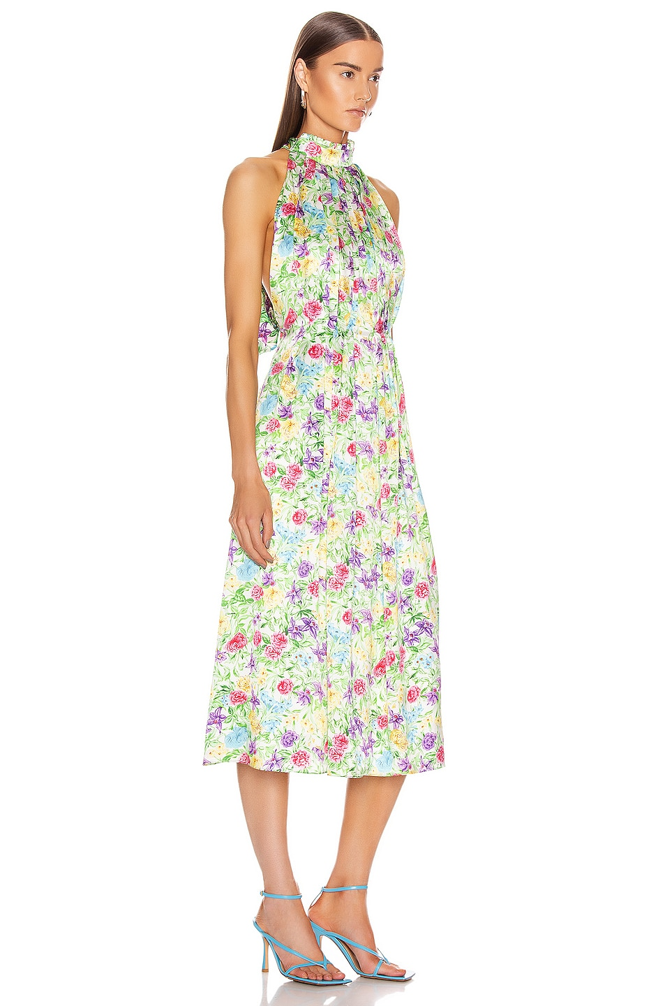 Image 2 of Les Reveries Pleated Pussy Bow Maxi Dress in Rose Orchid