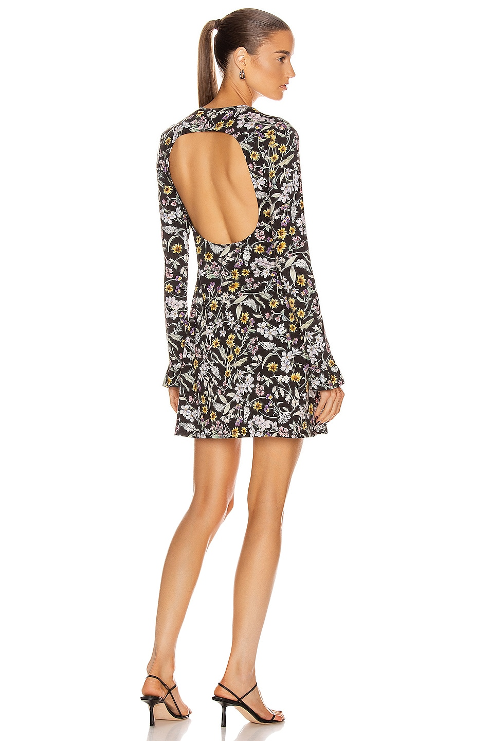 Image 1 of Les Reveries Open Back Long Sleeve Mini Dress in Liberty Floral Black