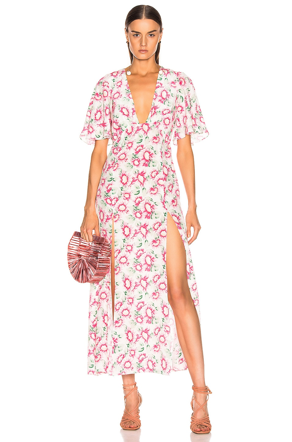 Image 1 of Les Reveries Deep Neck Petal Sleeve Dress in Pink Daisy White