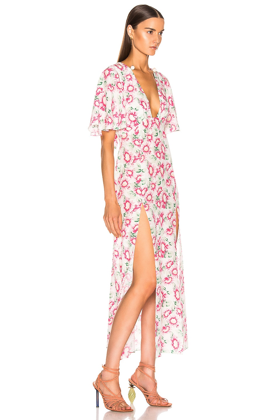 Image 2 of Les Reveries Deep Neck Petal Sleeve Dress in Pink Daisy White
