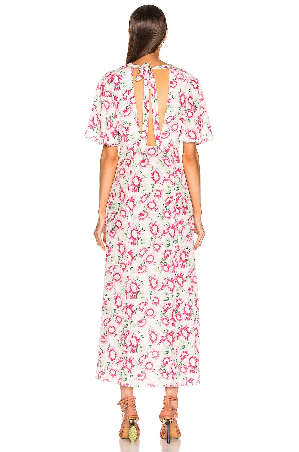 Image 3 of Les Reveries Deep Neck Petal Sleeve Dress in Pink Daisy White