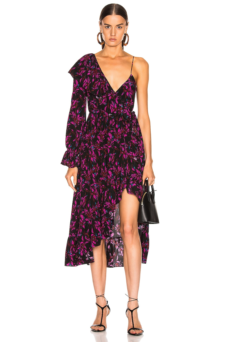 Image 1 of Les Reveries Asymmetrical Ruffle Wrap Dress in Wispy Floral Black