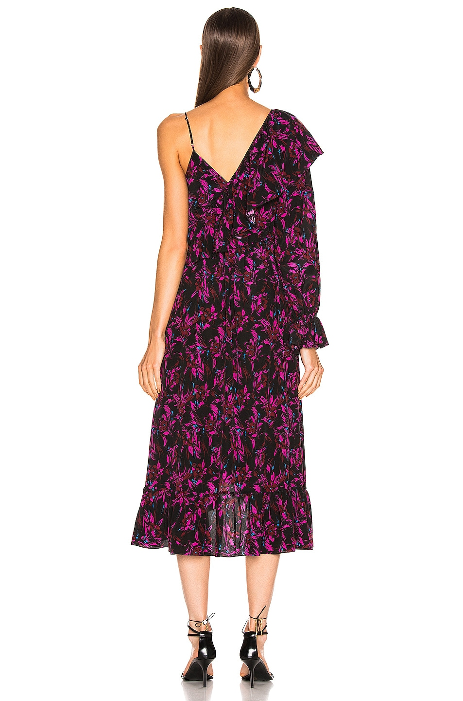 Image 4 of Les Reveries Asymmetrical Ruffle Wrap Dress in Wispy Floral Black