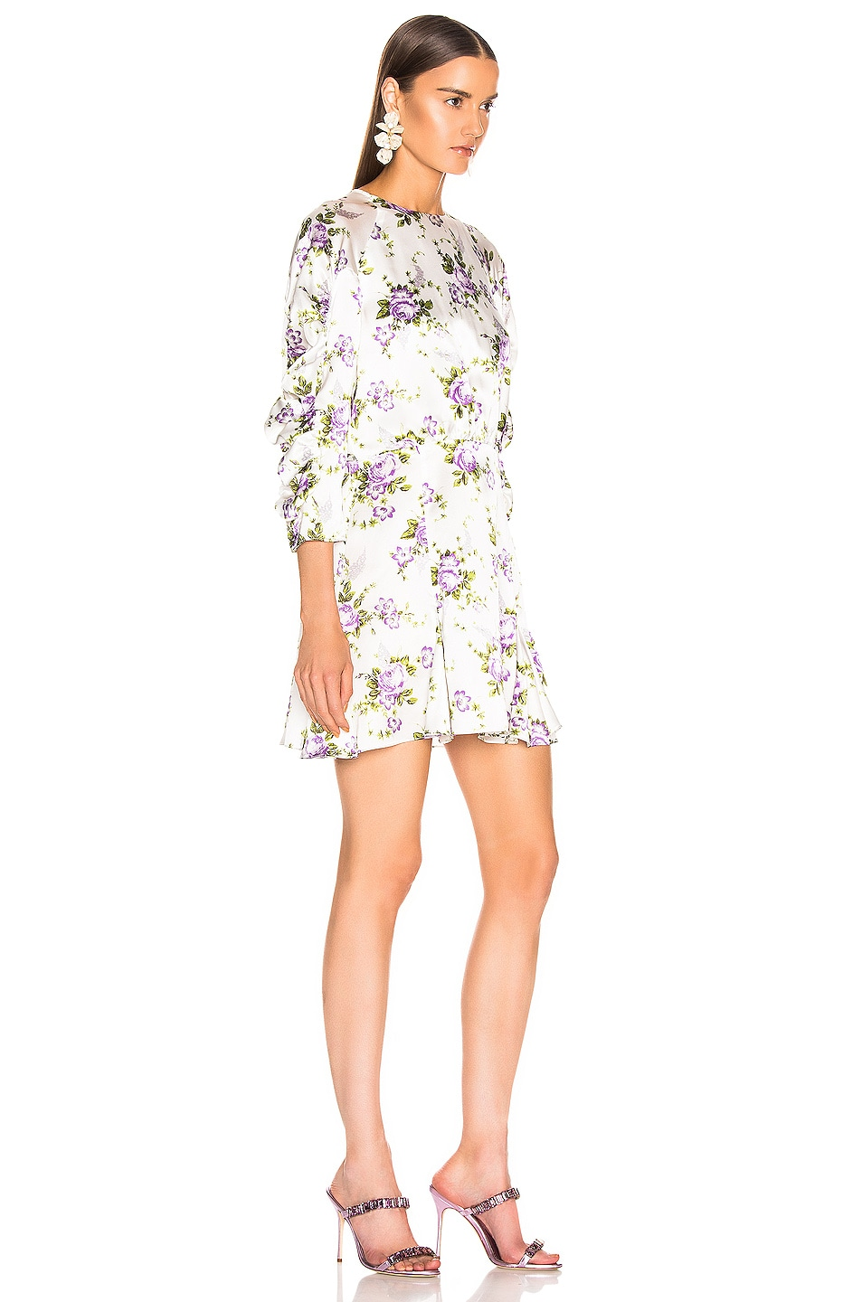 Image 2 of Les Reveries Ruched Sleeve Godet Dress in Purple Rose Garden