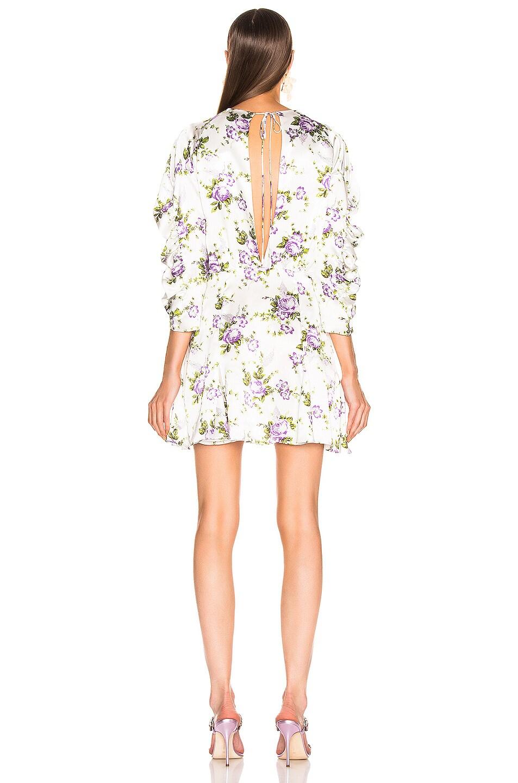 Image 3 of Les Reveries Ruched Sleeve Godet Dress in Purple Rose Garden