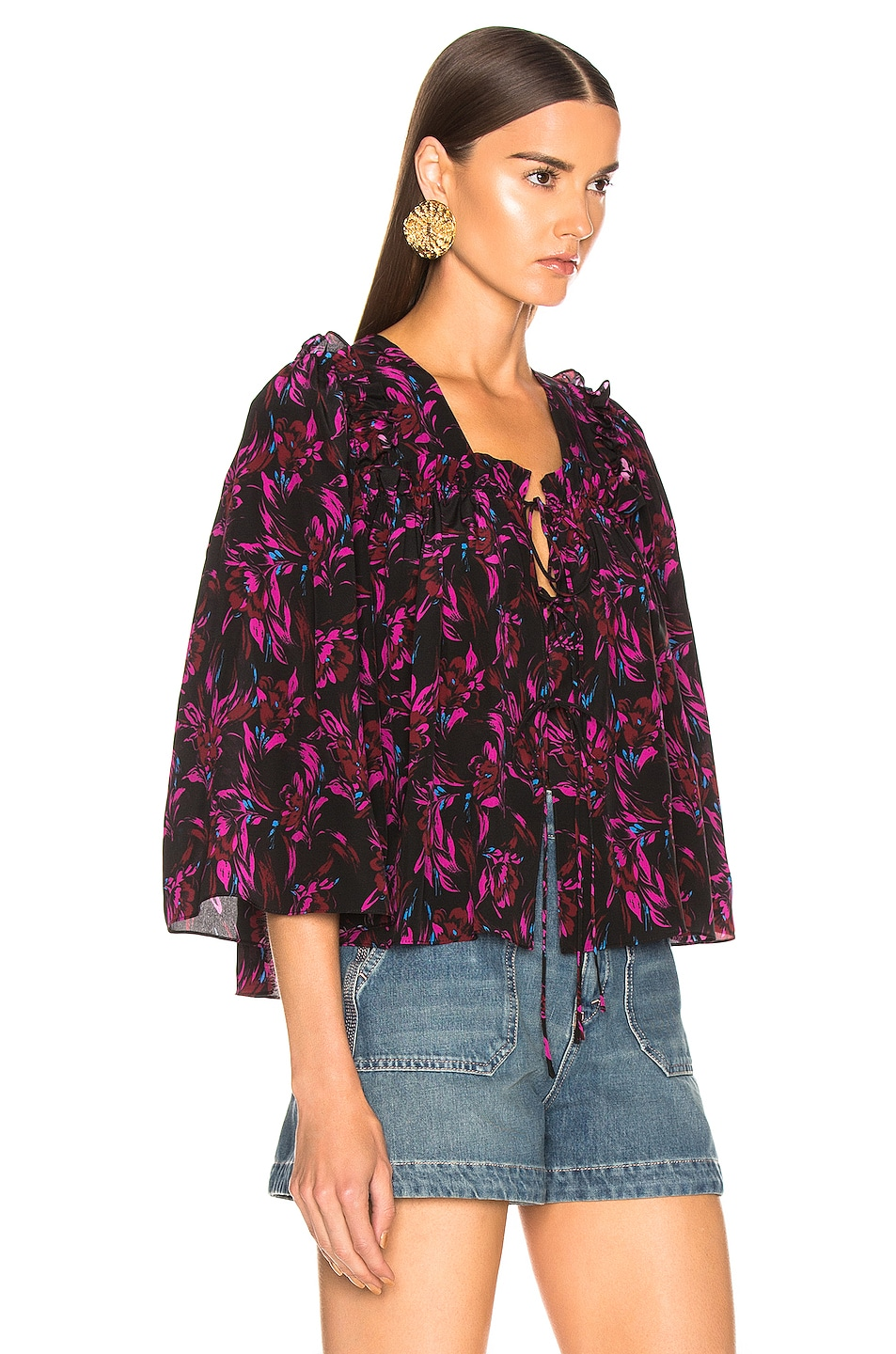 Image 2 of Les Reveries Tie Front Top in Wispy Floral Black