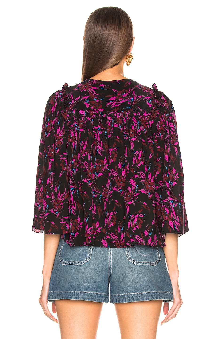 Image 3 of Les Reveries Tie Front Top in Wispy Floral Black