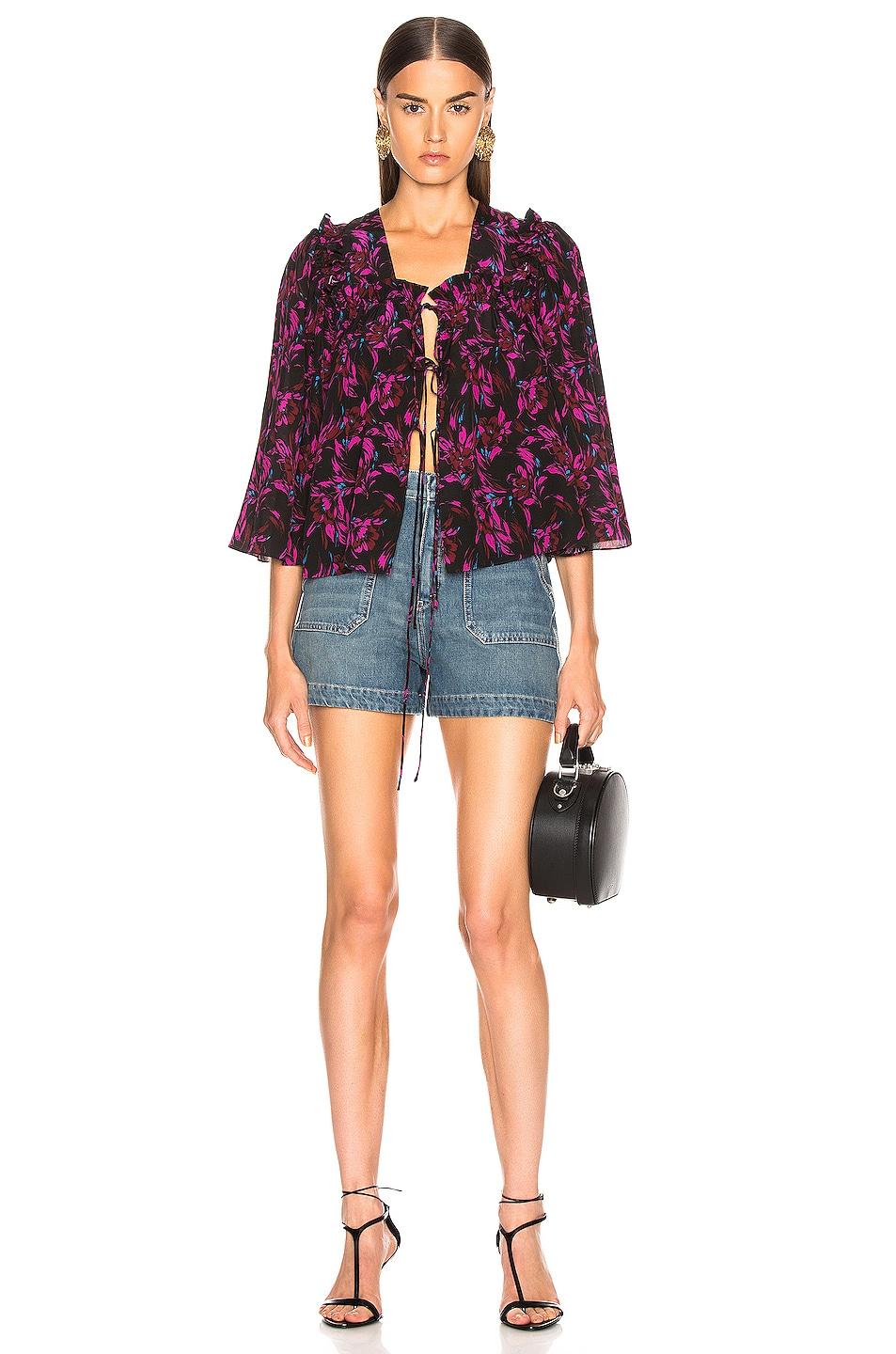 Image 4 of Les Reveries Tie Front Top in Wispy Floral Black