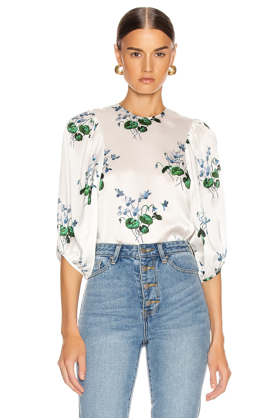 Image 1 of Les Reveries Puff Sleeve Top in Blue Daffodil & White