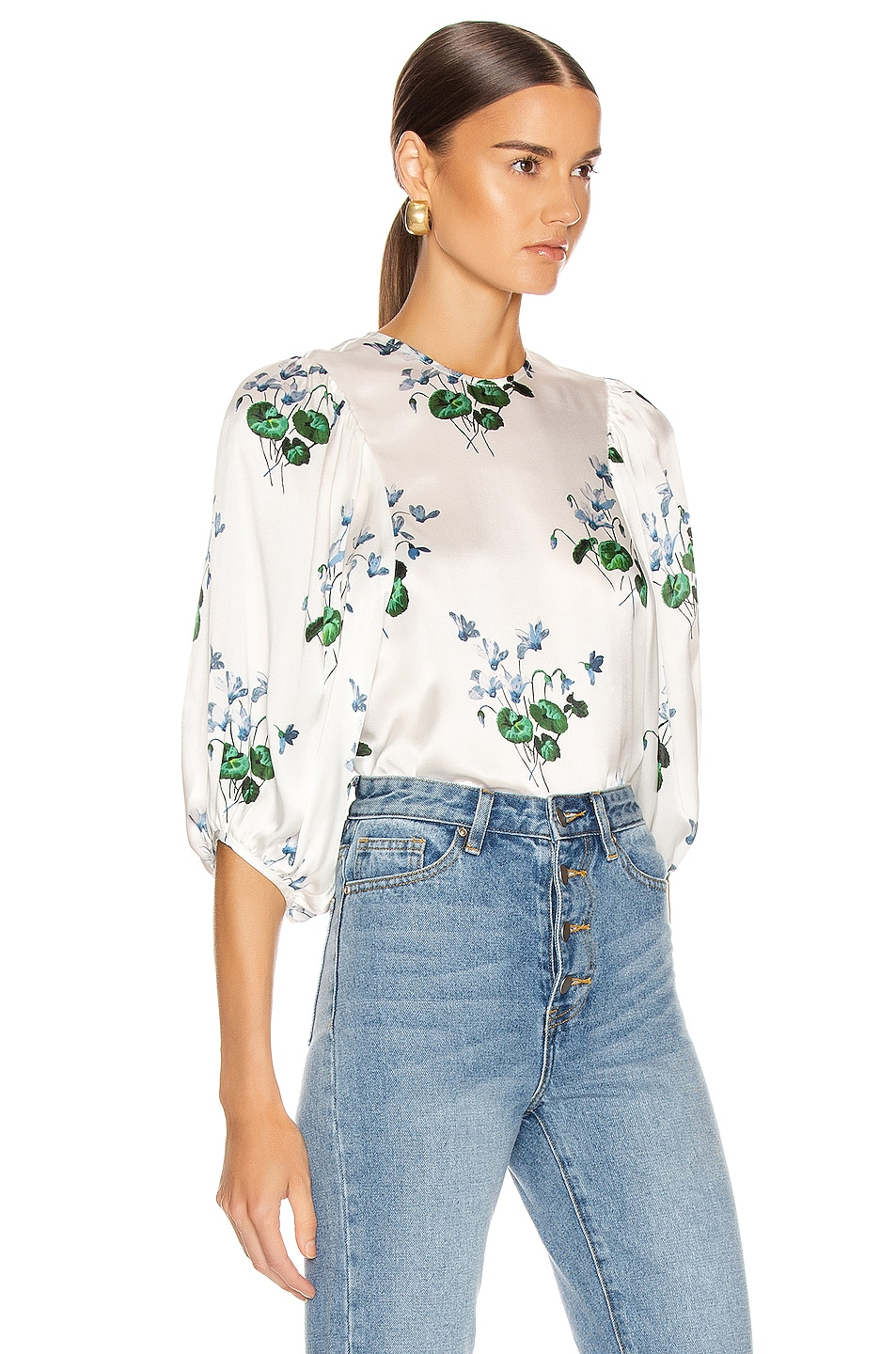 Image 2 of Les Reveries Puff Sleeve Top in Blue Daffodil & White