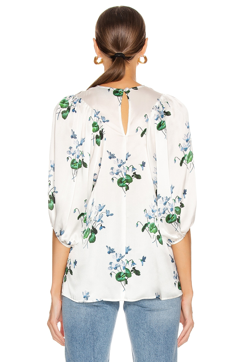 Image 3 of Les Reveries Puff Sleeve Top in Blue Daffodil & White