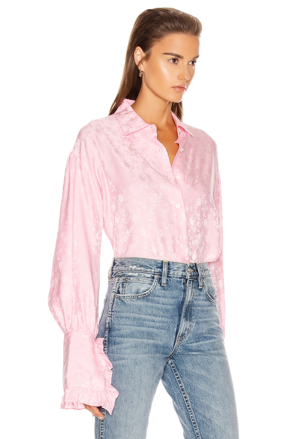 Image 2 of Les Reveries Ruffle Cuff Top in Rose Pink
