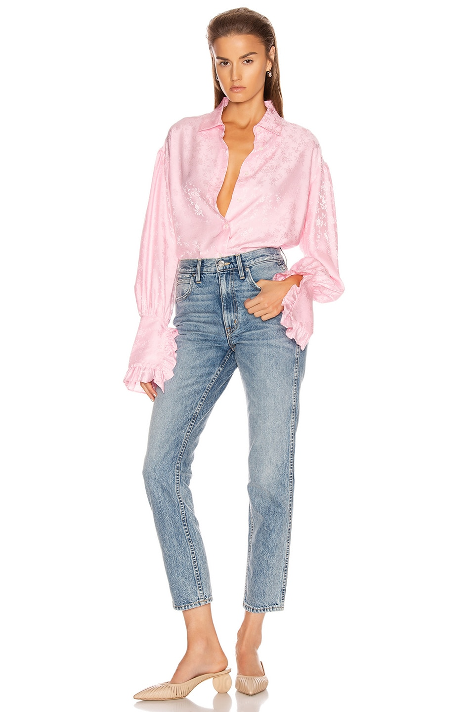 Image 4 of Les Reveries Ruffle Cuff Top in Rose Pink