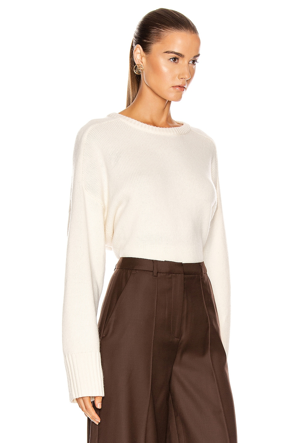 Image 2 of Loulou Studio Bruzzi Sweater in Ivory