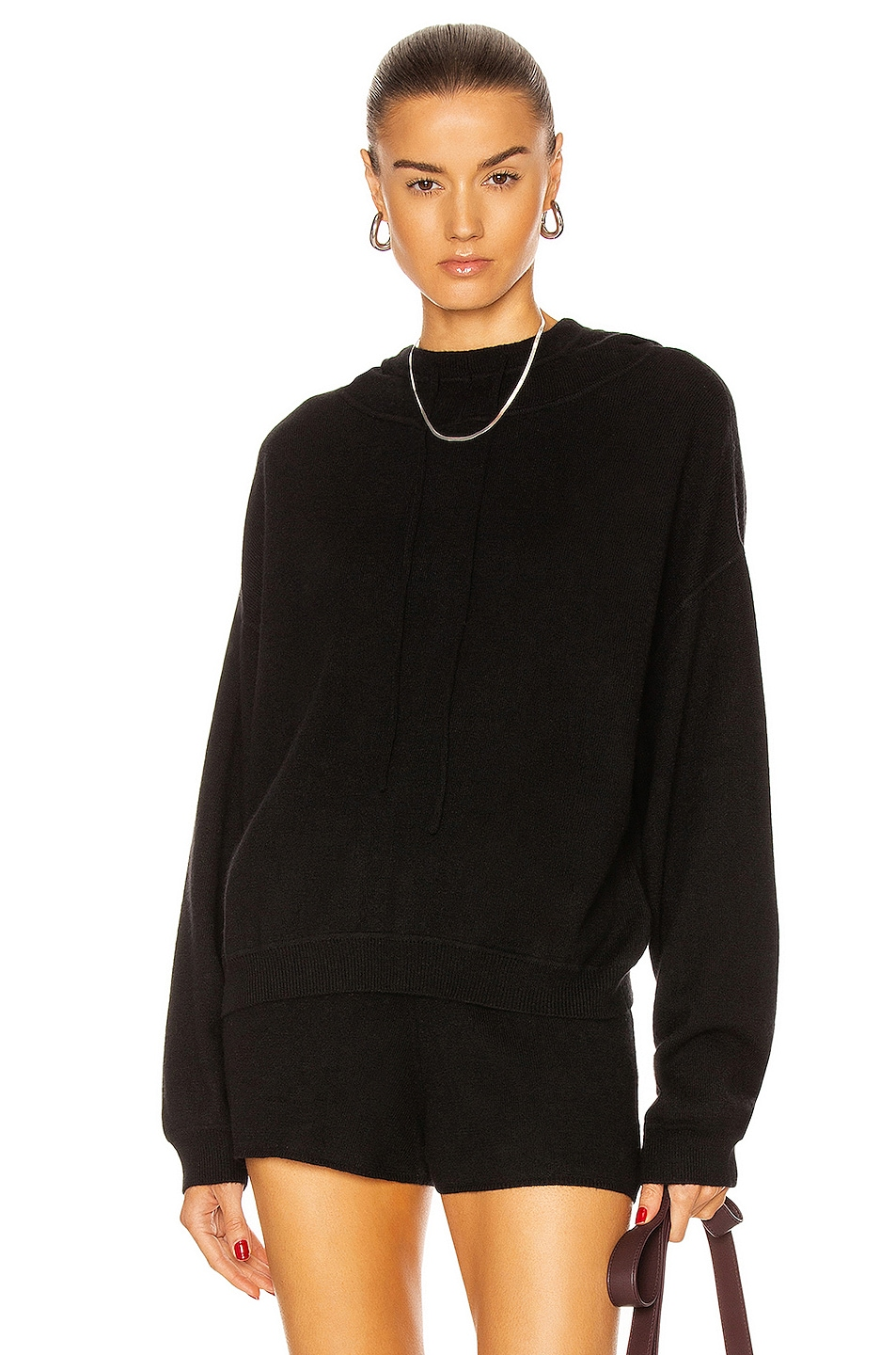 Image 1 of Loulou Studio Linosa Cashmere Hoodie in Black
