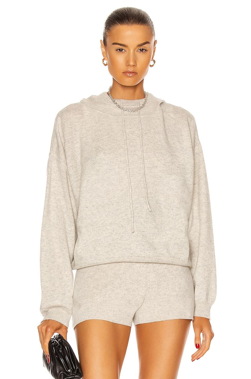 Image 1 of Loulou Studio Linosa Cashmere Hoodie in Light Grey Melange