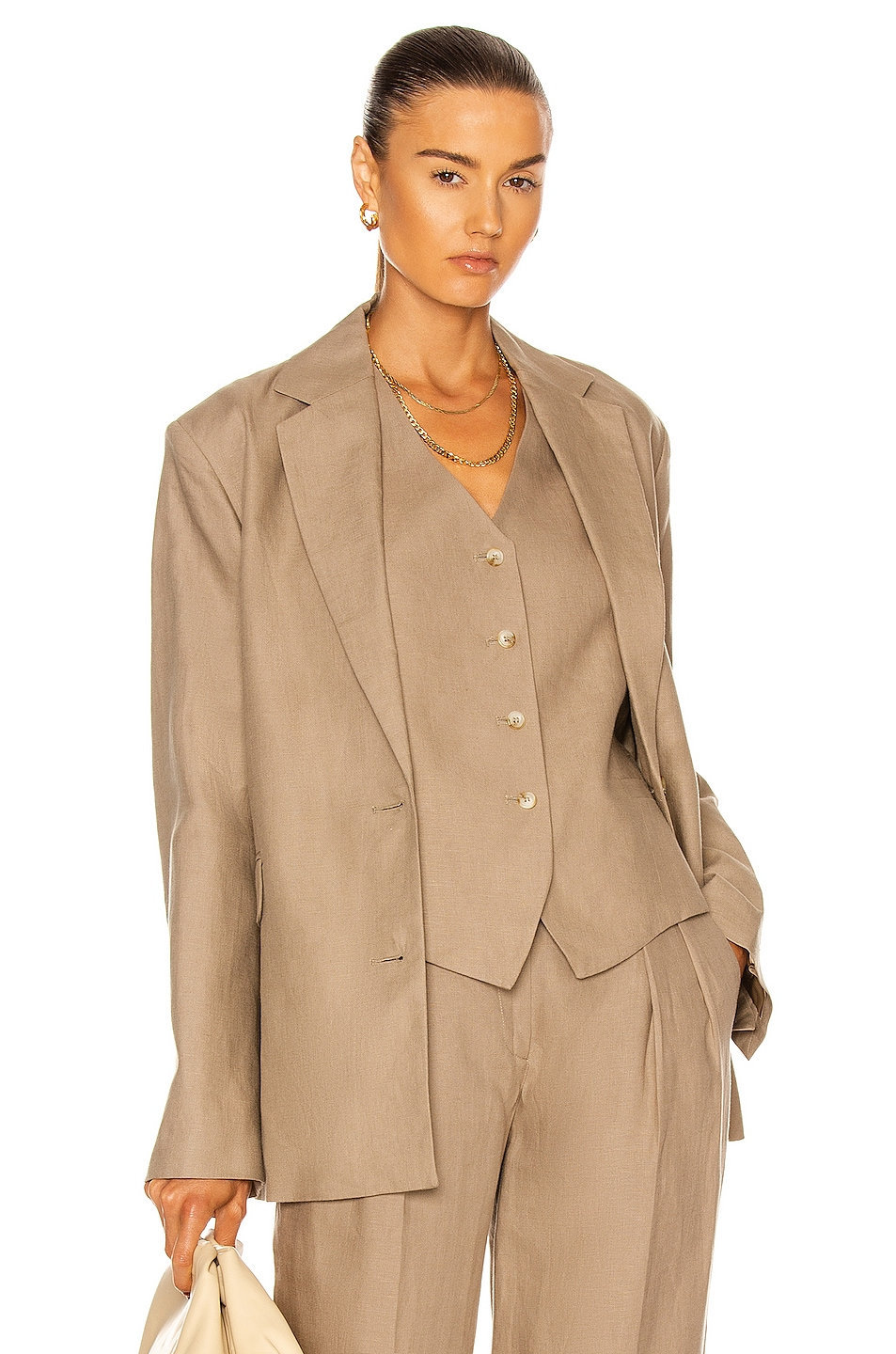 Image 1 of Loulou Studio Bambo Linen Blazer in Taupe