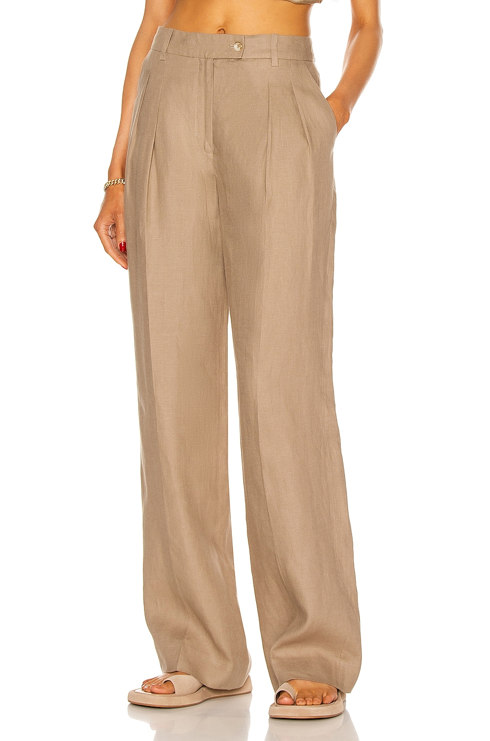 Image 1 of Loulou Studio Bidong Linen Pant in Taupe
