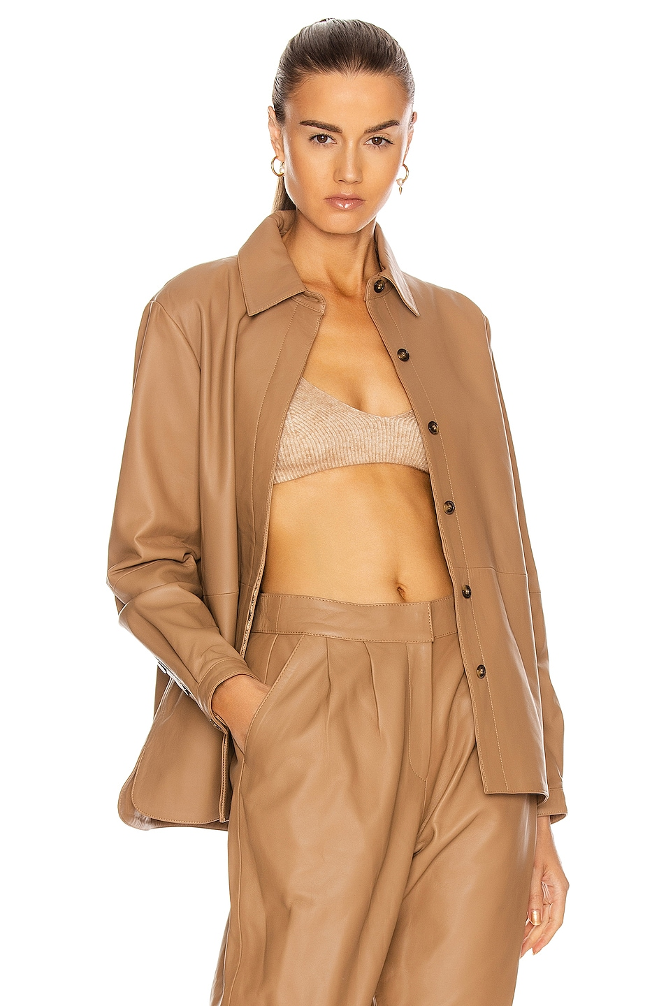 Image 1 of Loulou Studio Riau Leather Shirt in Caramel