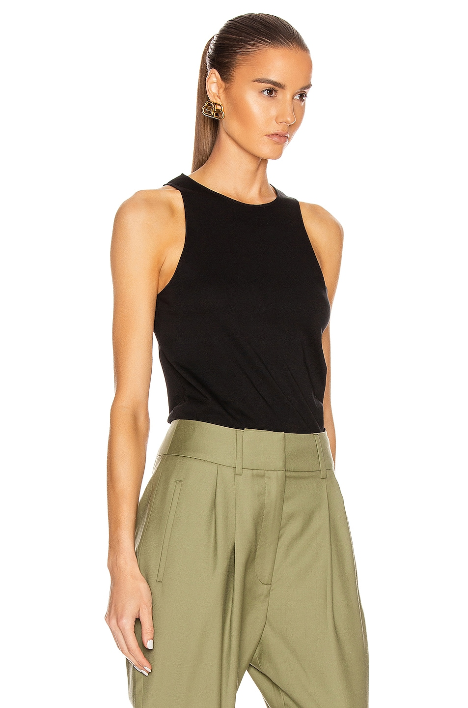 Image 2 of Loulou Studio Mahina Tank Top in Black