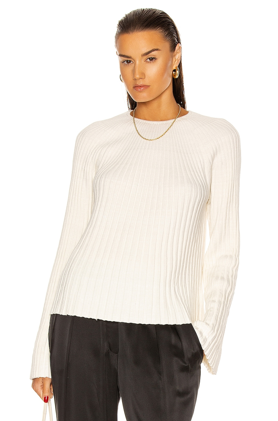 Image 1 of Loulou Studio Hairan Knit Top in Ivory