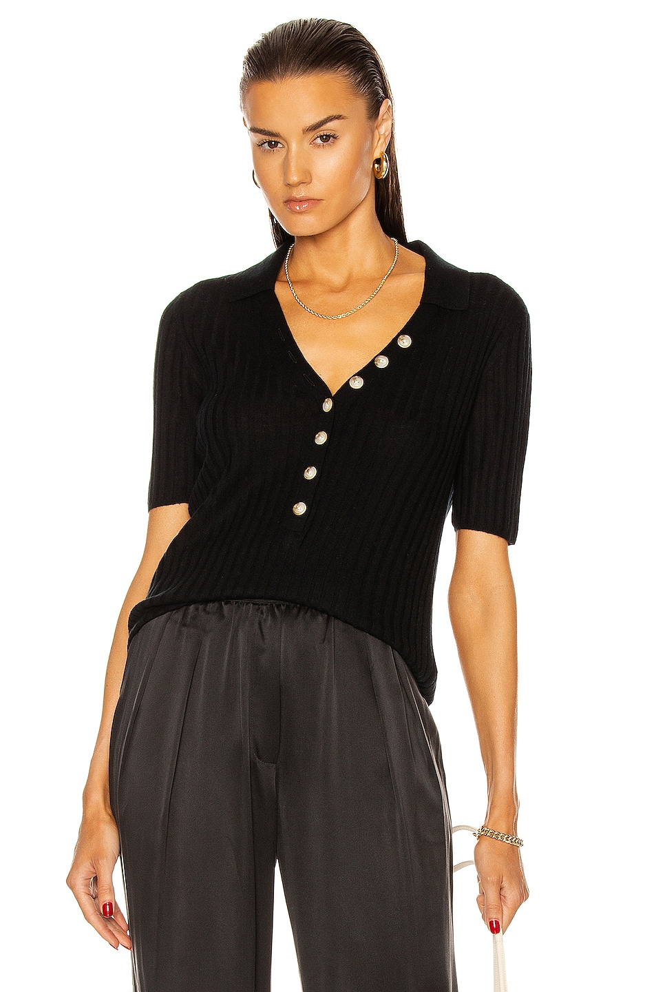 Image 1 of Loulou Studio Socotra Polo Top in Black