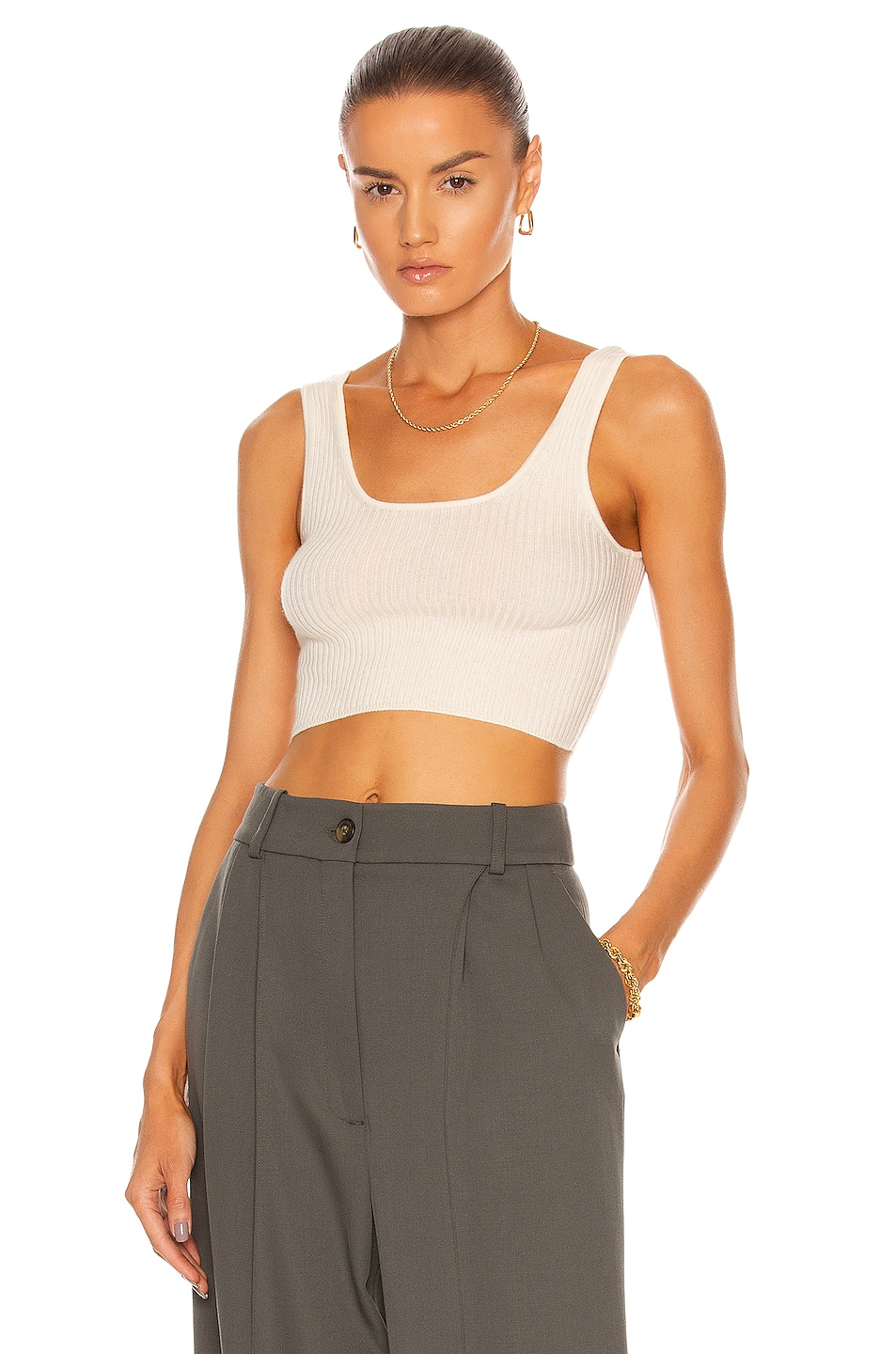 Image 1 of Loulou Studio Montague Crop Top in Ivory
