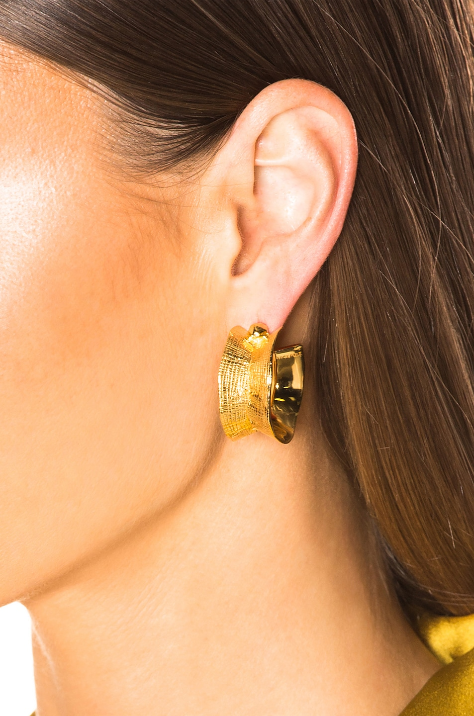 Image 2 of Lucy Folk Molten Hoop Earrings in Yellow Gold