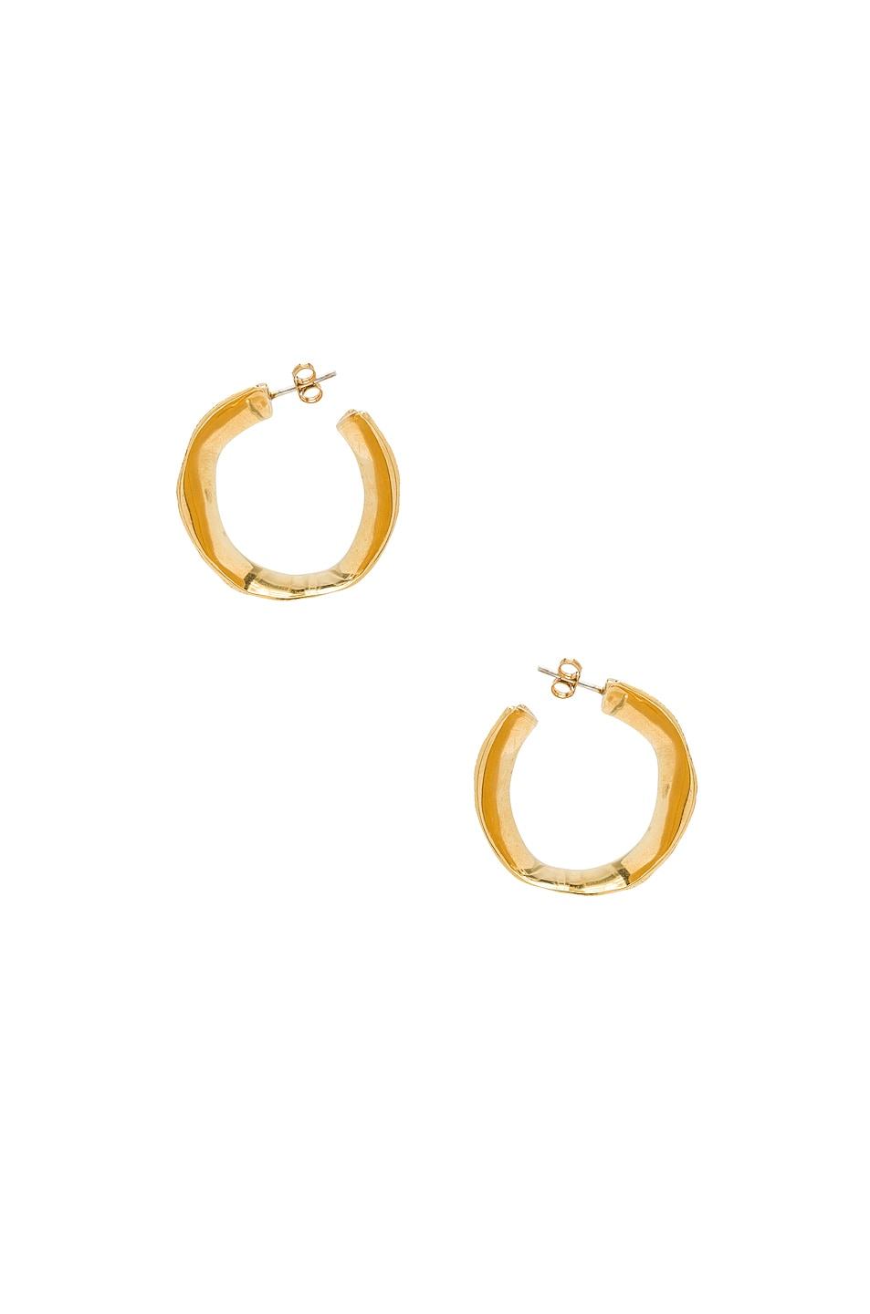 Image 3 of Lucy Folk Molten Hoop Earrings in Yellow Gold