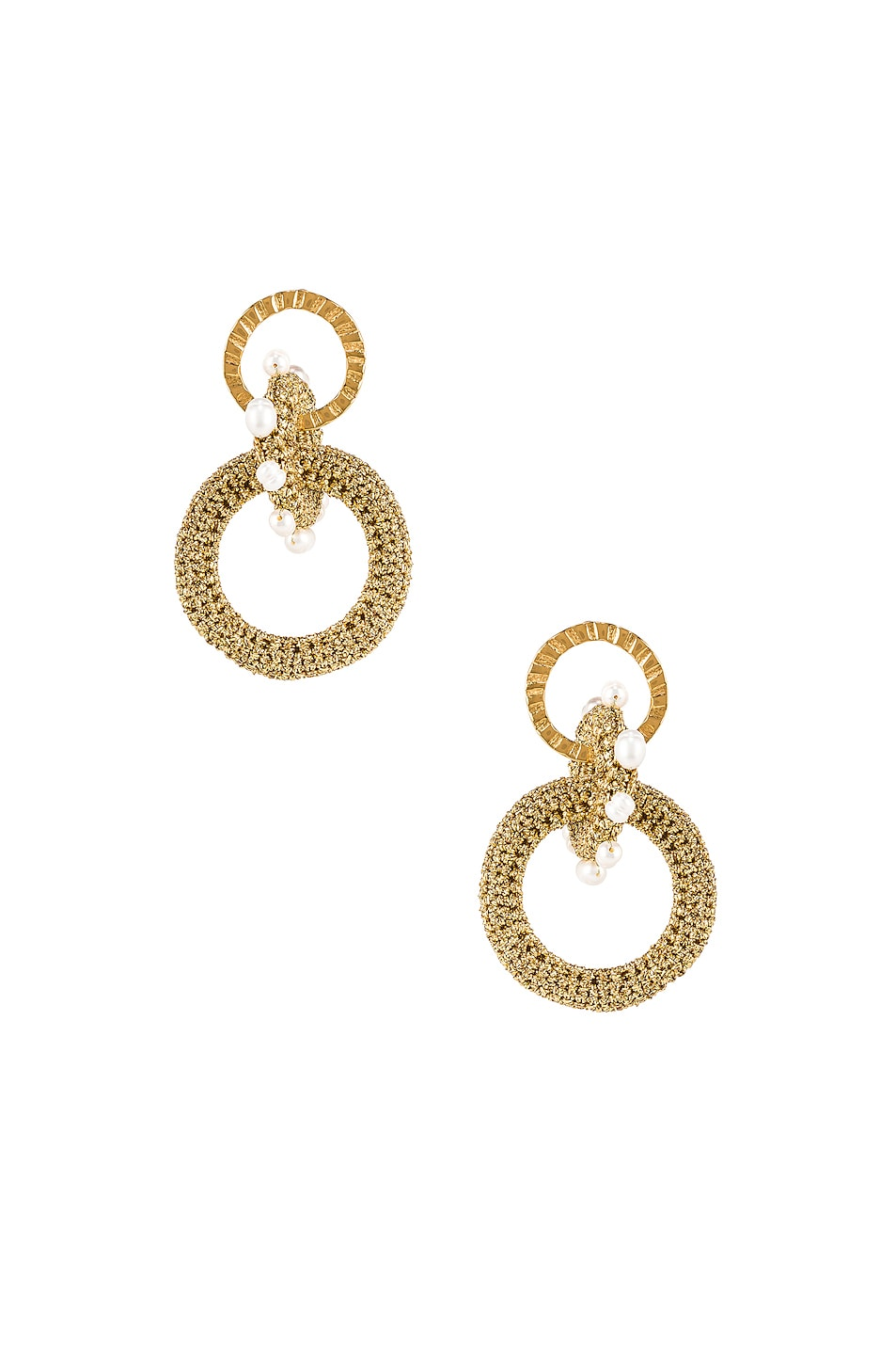 Image 1 of Lucy Folk Pharaoh Pearl Earrings in Gold